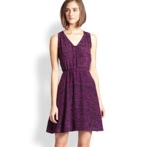 Rebecca Taylor Purple Silk Dot Print Dress 6